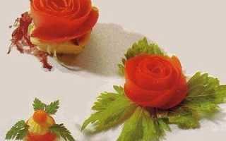 Как сделать розу из помидора и огурца пошагово