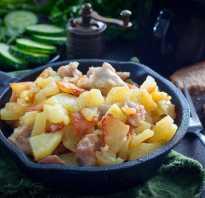 Как пожарить картошку на сковороде с курицей
