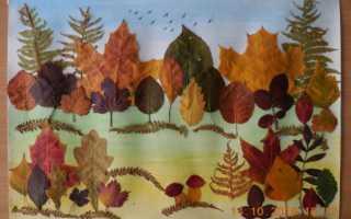 Осеннее панно из листьев для детского сада
