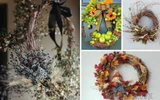 Венок из природных материалов на тему осень