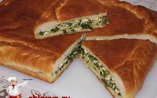 Открытый пирог с зеленым луком и яйцом