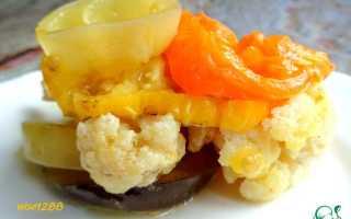 Запечь цветную капусту в духовке с овощами