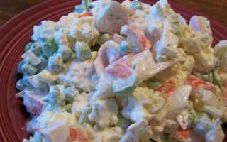 Салат из крабовых палочек и цветной капусты